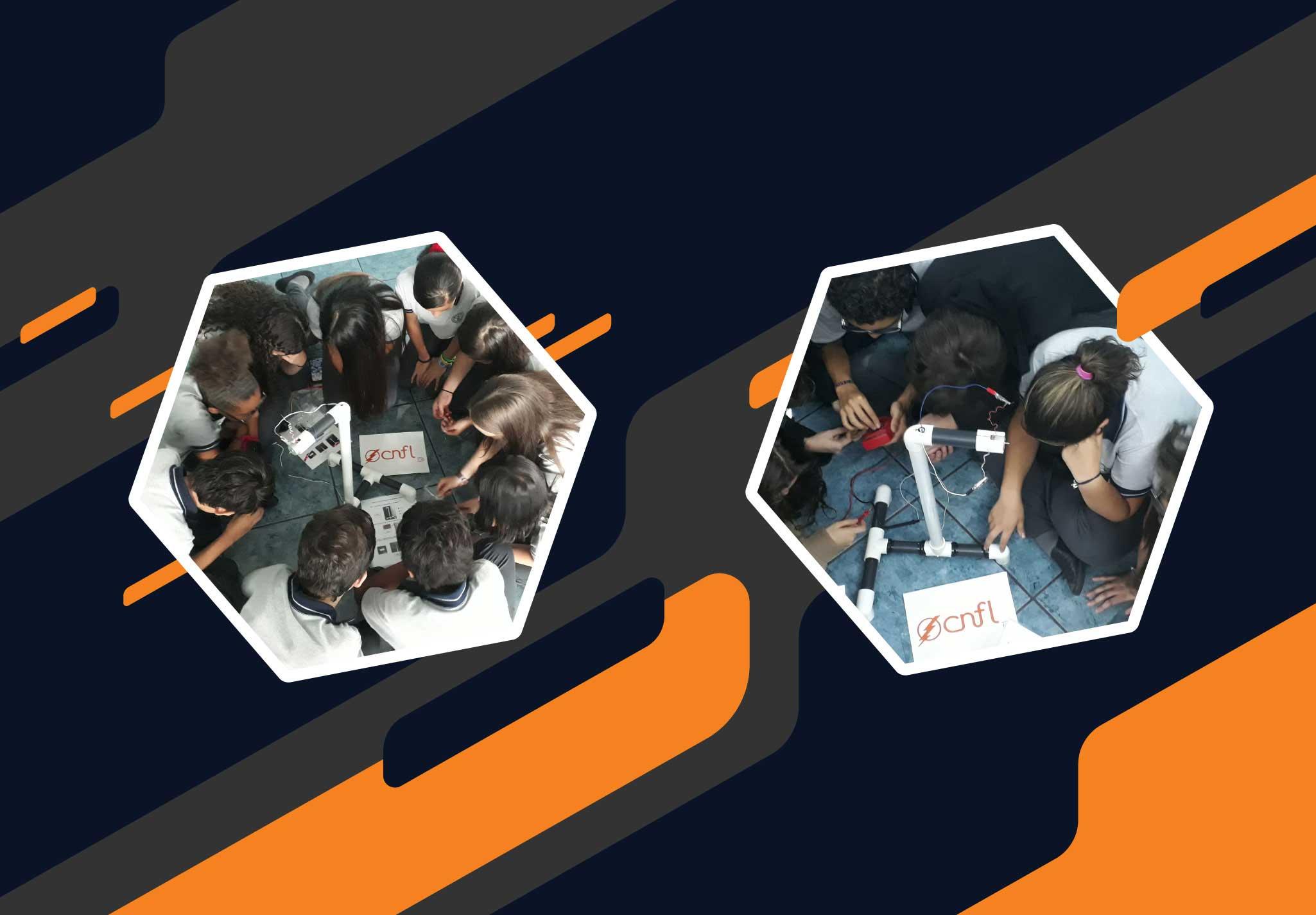 Dos grupos de estudiantes construyendo un aerogenerador a escala